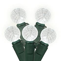 Set of 35 LED Pure White G12 Berry Christmas Lights - Green Wire