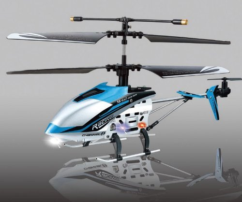 """(BLUE) 4 ch Indoor Infrared Remote Control Helicopter """"DRIFT KING&q"""