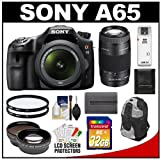 Sale on Sony Alpha SLT-A65 Translucent Mirror Technology Digital SLR Camera Body &amp; 18-55mm Lens with 75-300mm Zoom Lens + 32GB Card + Battery + Filter + Backpack + Telephoto &amp; Wide-Angle Lens + Accessory Kit