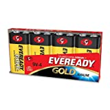 Gold Alkaline Batteries, 9V, 4 Batteries/Pack