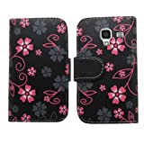 Samrick Executive Floral Flowers Specially Designed Soft Leather Book Wallet Case with Credit Card/Business Card Holder for Samsung i8160 Galaxy Ace 2 - Black/Pink