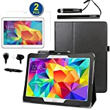 BIRUGEAR SlimBook Leather Folio Stand Case w/ Stylus, Headset, Screen Protector for Samsung Galaxy Tab S 10.5 T800 T805 10.5-inch AMOLED Tablet