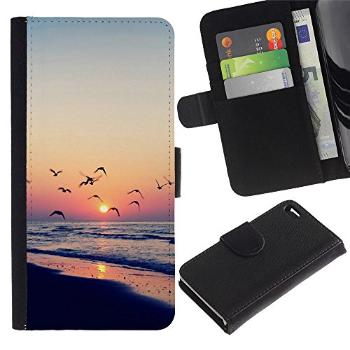 RenCase / Flip Wallet Diary PU Leather Case Cover With Card Slot for Apple iPhone 4 / 4S – Twilight coast