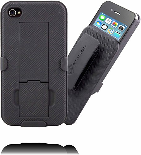 iPhone 4 4S Holster: Stalion® Secure Shell Case & Belt Clilp Combo with Kickstand (Jet Black) 180° Degree Rotating Locking Swivel + Shockproof Protection (Iphone 4s Belt compare prices)