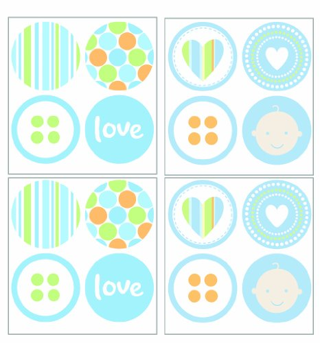 Lot 26 Studio P1604-L Art-U-Stick Baby Boy Dots Wall Stickers, 12 by 12-Inch
