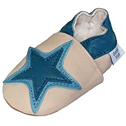 Soft Leather Baby boy Shoes with Suede Soles by Dotty Fish Cream and denim Star - 2-3 years