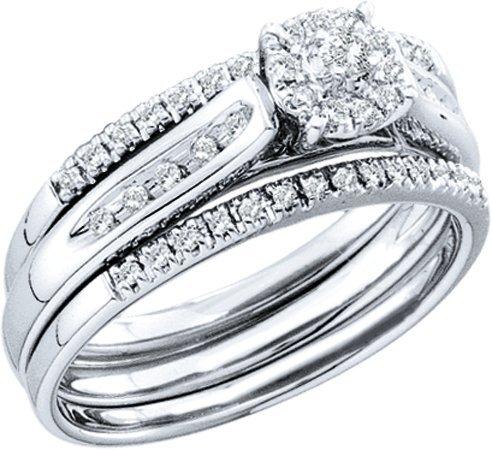 DIAMOND WEDDING-SET 0.25CTW DIAMOND LADIES BRIDAL SET T32315/W Size O