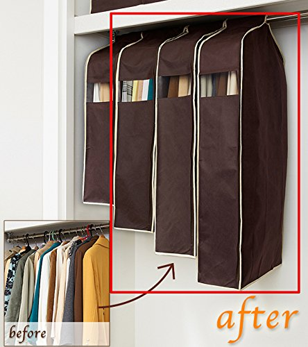 Sommarhome 3 Size Breathable Non-woven Fabric Garment Bags Clothes Cover with Clear Windown Perfect for Stroage - Brown (Garment Bag For Closet compare prices)