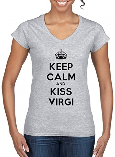 Keep-Calm-And-Kiss-Virgi-V-Cuello-Camiseta-Para-Mujer-Gris-Todos-Los-Tamaos-Womens-V-Neck-T-Shirt-Grey
