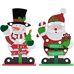"Set of 2 Christmas Decorations; Light-up Santa and Snowman Christmas Table Decorations; Made of Wood & Measures 16"" Tall!!"