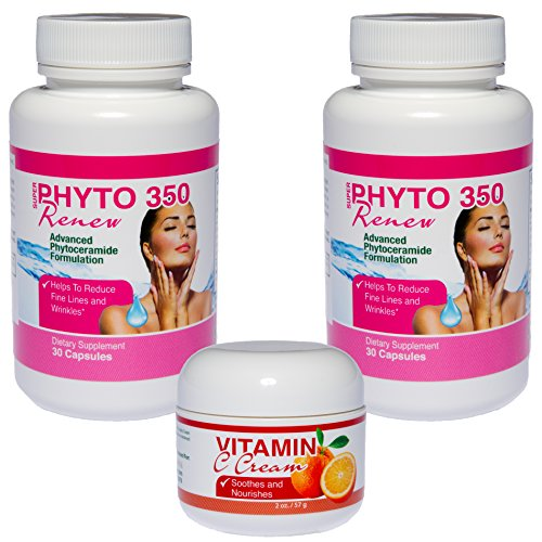 2 Bottles Selectavite Phytoceramides 350 Plus 1 Bottle Selectavite Vitamin C Cream Combo Pack | 100% All Natural | Increase Skin Hydration | Reduce Fine Lines And Wrinkles | Drop A Decade From Your Appearance | Promote Collagen Production | As Seen On Dr.