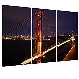 YESURPRISE サンフランシスコ ゴールデンゲートブリッジ 夜景 壁飾り 絵画 写真 印刷布製 ポスター 40*60CM(3pcs)