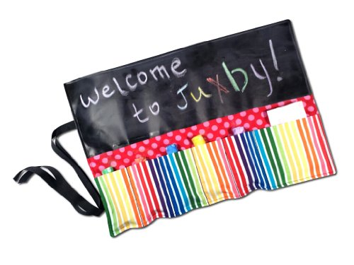 Juxby Kids Stripe & Dots Chalkboard, Wrap 'N Play Toy Caddy with Chalk