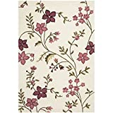 Safavieh CPR354A Capri Collection Ivory and Purple Handmade Wool Area Rug, 6 by 9-Feet