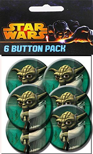 C&D Visionary Star Wars Clone Wars Yoda Paint 1.5 Inch Button, (6-Piece)