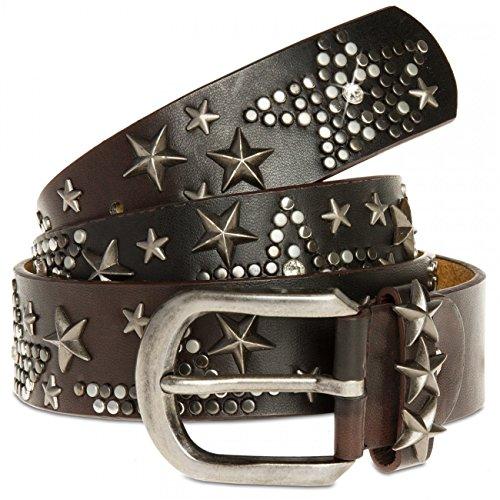 Caspar gu287donne Studded Belt Dark Brown 95