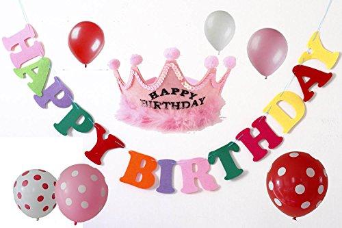 [ モモショップ ] MOMO shop お誕生日 会 バースデー 盛り上げ セット (フエルト ガーランド 、王冠 、 バルーン) (4.ピンク/ふわふわ王冠)