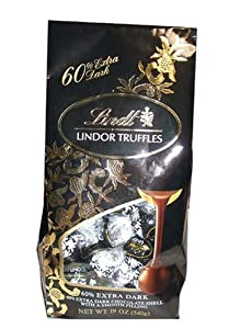 Lindt Lindor 60% Extra Dark Valentines Valenitne's Day Gift Chocolate Truffles (19 Oz Bag)