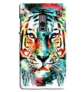 Blue Throat Tiger Face With Blue Effect Printed Designer Back Cover For OnePlus 2