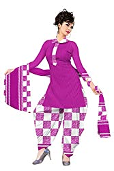 Araham Printed Purple and White Synthetic Polyester Dress Material/ Unstitched Salwar Suit