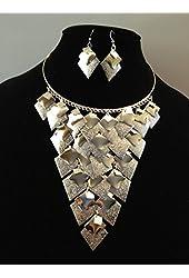 Choker Silver Metal Diamond Chandelier Necklace and Earring Set