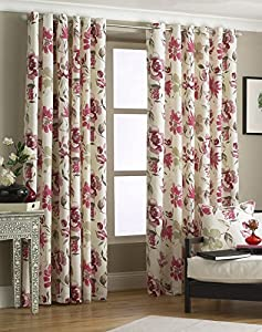 """Red Pink Floral Fully Lined 90"""" X 90"""" - 229cm X 229cm Ring Top Eyelet Curtains from Curtains"""