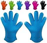 Belmalia gants de cuisine en silicone résistant à la chaleur pour cuisine et grill et barbecue Bleu