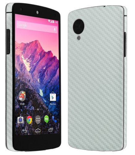 Skinomi® Techskin - Google Nexus 5 Screen Protector + Carbon Fiber Silver Full Body Skin Protector / Front & Back Premium Hd Clear Film / Ultra High Definition Invisible And Anti Bubble Crystal Shield With Free Lifetime Replacement Warranty - Retail Packa