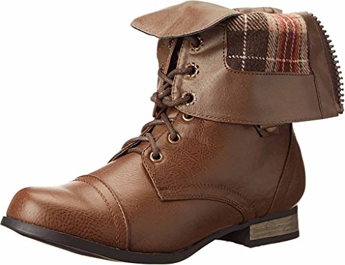 Charles Albert Women's Cablee Mid Calf Lace Up Boot with Plaid Cuff in Cognac Size: 10