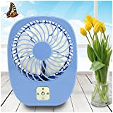 LP Mini USB Output Electric Fan Compact Easy To Carry for the Office , Home , Dorm , Study , Library , Games Room Outdoor Travel , Keep You Cool and Relaxed (Blue)