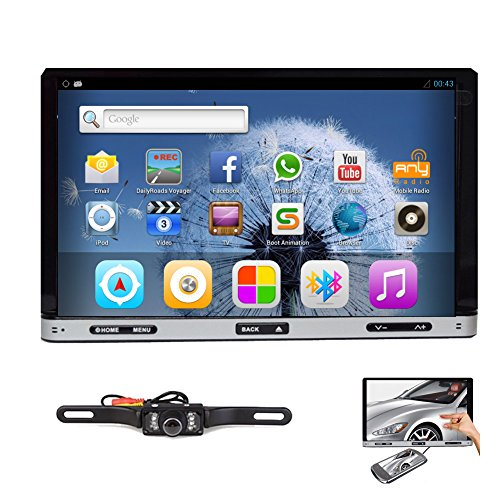 Rear Camera Included New Model Android 4.2 7-Inch Double-2 DIN In Dash Car DVD Player Touch screen LCD Monitor with DVD/CD/MP3/MP4/USB/SD/AM/FM/RDS Radio/Bluetooth/Stereo/Audio and GPS Navigation SAT NAV