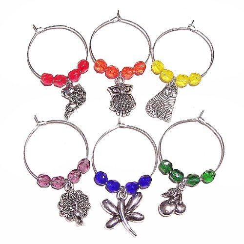 Czech Crystal Wine Glass Charms - Brights