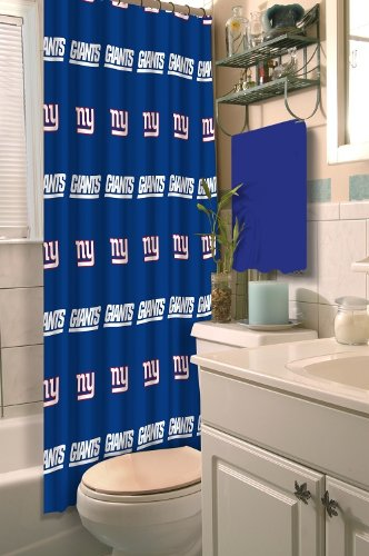 New York Giants COMBO Shower Curtain & Set of (Two) Appliqué Bath Towels with Team Logo - Decorate your Bathroom & SAVE ON BUNDLING! at Amazon.com