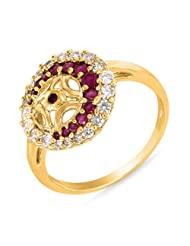 Mahi Ruby & CZ 24K Gold Plated Fashion Finger Ring For Women FR1100318G