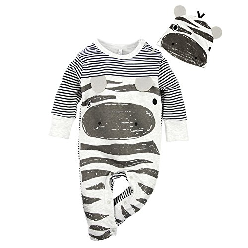Big Elephant Baby Boys 2 Pcs Pajama Romper Sets with Hat Grey E14 (3-6 Months)