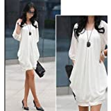 NEEWER® Chiffon Cocktail Women 3/4 Lantern Sleeve Mini Dress (Size XXXL, White)