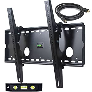 VideoSecu Tilt TV Wall Mount for Most 32&quot;-65&quot; LCD LED Plasma TV Flat Screen, Sturdy Steel Wall Plate Free HDMI Cable and 6&quot; Bubble Level M43 from Videosecu