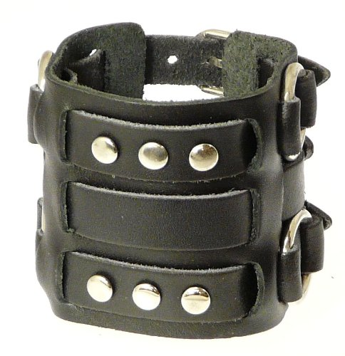 Neptune Giftware Wide Triple Strap Leather Cuff Wrap Gothic Wristband Bracelet With Buckle Fastening - Available In Black or Brown - YOU CHOOSE