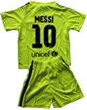 2014/2015 FC BARCELONA THIRD LIME GREEN LIONEL MESSI (10) FOOTBALL SOCCER KIDS JERSEY & SHORT