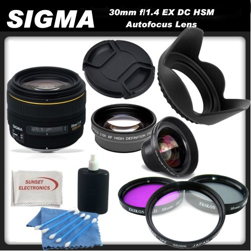 Sigma 30mm f/1.4 EX DC HSM Autofocus Lens for Pentax Digital SLR Cameras + SSE Picture Perfect Lens Accessory Kit!