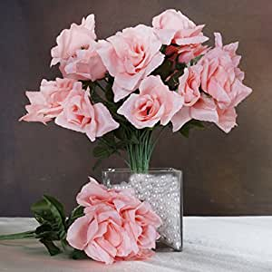 252 Silk Open Roses Wedding Flowers Bouquets Peach Home