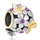 Pugster 22K Gold Plated Peridot Green Flower Golden Butterfly Charm Bead Fits Pandora Bracelet (Purple) thumbnail