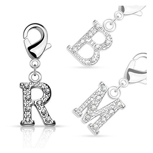 bungsa® lettere cristallo d' argento anello ciondolo per braccialetto orecchini collana con zirconi uomo e donna ciondolo per bambini (catena Pendant Beads a B C D E F G H I J K L M N O P R S T U V W Z), T