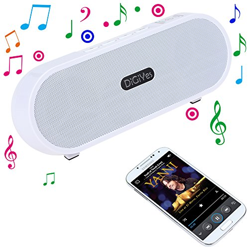 DiGiYes® Portable Bluetooth 4.0 Wireless Stereo Speaker 3D Surround Sound Support LINE-IN Function Two 5W Loudspeaker Output 2200mAh Li-polymer Rechargeable Battery For iPhone iPad Samsung Smartphone Tablet or Any Devices with Bluetooth Version or 3.5mm poweradd™ ultra portable wireless bluetooth speaker with built in microphone and rechargeable battery for iphone ipad samsung tablets laptops mp3 players and other bluetooth enable devices
