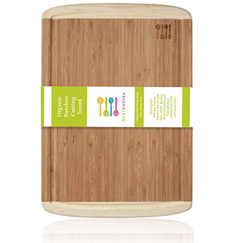 Bamboo Cutting Board with Wooden Deep Groove Edge Grip for Oil, Heavy Duty Thick Organic Wood Chopping Board with Large Antibacterial and Anti Slip Slicing Surface (Bamboo Cutting Board With Groove compare prices)