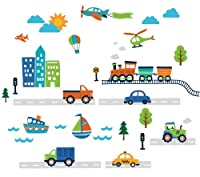 Transportation and City Scene Kids' Room Peel and Stick Wall Sticker Decals by CherryCreek Decals