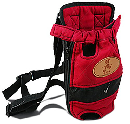 MaruPet Front Cat Dog Backpack Travel Bag Sling Carrier Portable Outdoor Lightweight and Safe Soft Comfortable Puppy Kitty Rabbit Double-sided Pouch Shoulder Carry Tote Handbag Red M