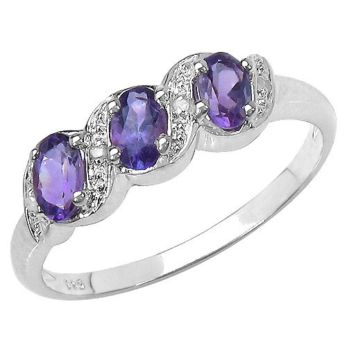 The Amethyst Ring Collection: Ladies Sterling Silver Amethyst & Diamond Engagement Ring with 0.77 Carats Genuine Amethyst set with 4 Diamonds (Size T). Comes in a Quality Ring Case for that Special Gift.