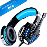 ECOOPRO Stereo Gaming Headset with Microphone - 3.5mm Over Ear Headphones - LED Lights & In-line Volume Control for PS4, PC, MAC, Mobiles (Blue)