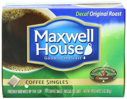 Maxwell House Decaf Original Roast Coffee Singles(Medium), 19-Count Single Serve Coffee Bags (Pack of 4) (Instant Coffee Single Packs compare prices)